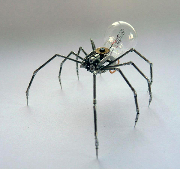 Insect Sculptures Made From Watch Parts & Light Bulbs